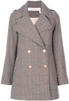 See by Chloe houndstooth pea coat - women - Cotton/Acrylic/Polyamide/Wool - 38