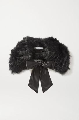 Eugenia Kim Leonora Satin-trimmed Faux Fur Collar - Black