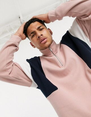 Topman half zip sweat in pink