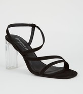 New Look Suedette Strappy Clear Block Heels