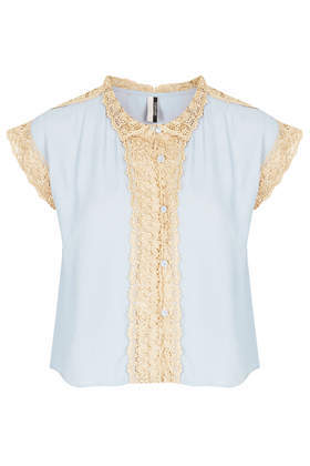 Topshop Short sleeve blouse with cream crochet trim detail. 100% viscose. machine washable.