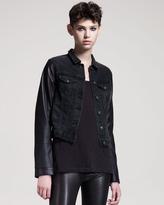 rag & bone/JEAN Rock Leather-Trim Jean Jacket