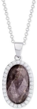 "Macy's Labradorite (4-1/2 ct. t.w.) & Cubic Zirconia 18"" Pendant Necklace in Sterling Silver (Also Available in Amethyst, Aqua Quartz and Rose Quartz)"
