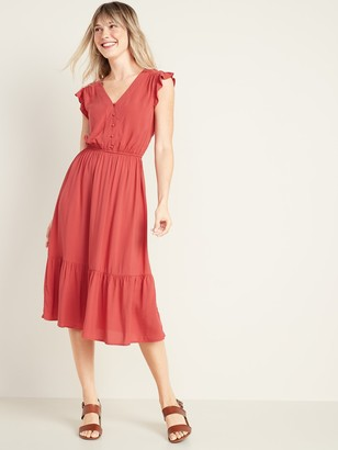 Old Navy Waist-Defined Button-Front Midi Prairie Dress for Women