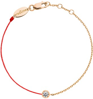 Redline 18ct Rose Gold And Diamond Pure Thread And Chain Bracelet (red)