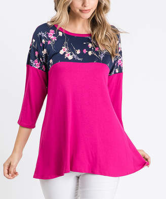 Cool Melon Women's Tunics Fuchsia - Fuchsia & Navy Floral Color Block Three-Quarter Sleeve Tunic - Women & Plus