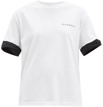 Givenchy Logo-print Contrast-cuff Cotton T-shirt - White