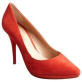 Pour La Victoire red suede 'Daina' point toe platform pumps