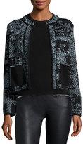 M Missoni Jewel-Neck Cropped Boucle Jacket, Ice
