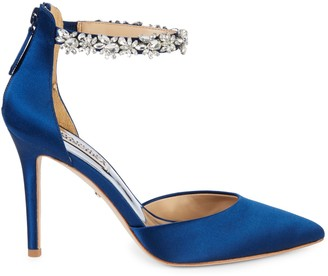 Badgley Mischka Evie Crystal Embellished Satin d'Orsay Pumps