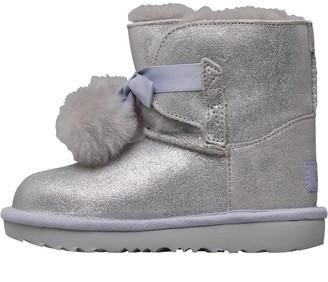 UGG Toddler Girls Classic Gita Metallic Boots Silver