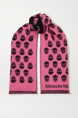 Alexander McQueen Reversible Fringed Intarsia Wool Scarf - Pink