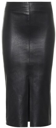 STOULS Ocean Drive leather midi skirt