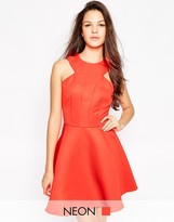 AX Paris Skater Dress with Cut-Out Neckline