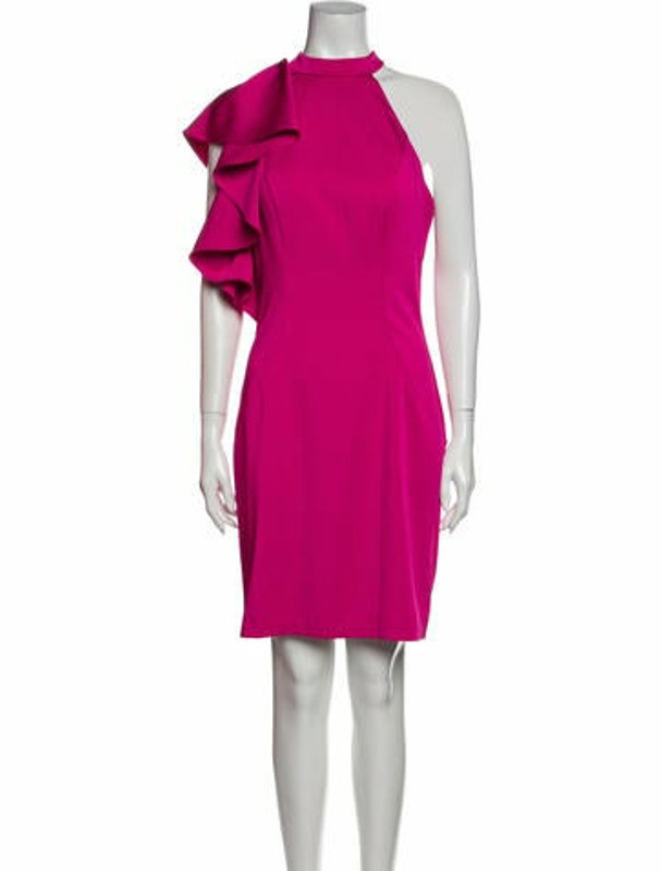 Thumbnail for your product : Mac Duggal Mock Neck Knee-Length Dress Pink