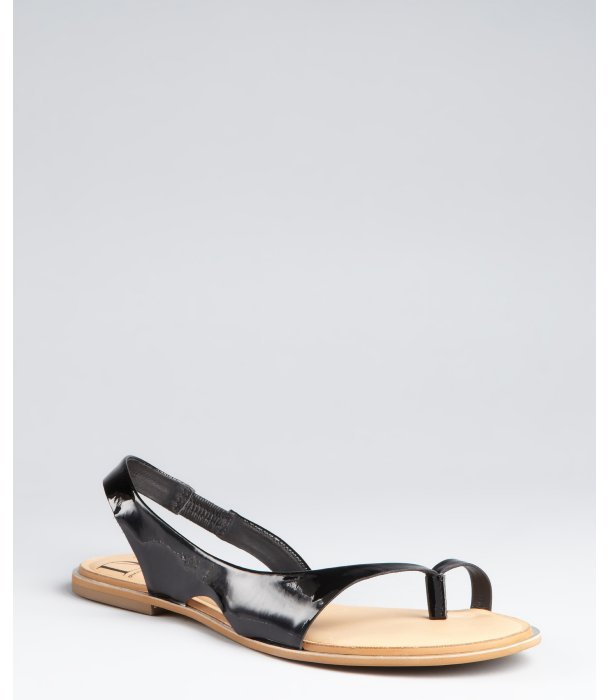 Diane von Furstenberg black patent leather 'Kaiti' flat sandals