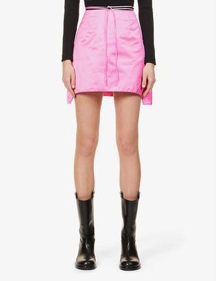 Helmut Lang Self-tie belt woven-shell mini skirt
