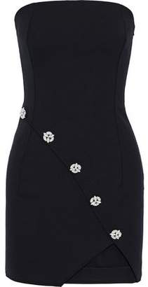 Faith Connexion Strapless Crystal-embellished Stretch-cady Mini Dress