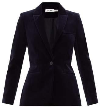 Cefinn - Single-breasted Cotton-velvet Suit Jacket - Womens - Navy