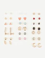 Full Tilt 20 Pairs Heart/Gem Earrings