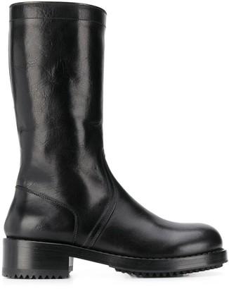 Raf Simons Smiley Logo Mid-Calf Boots