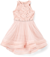 Speechless Blush Lace-Accent Yoke Dress - Girls