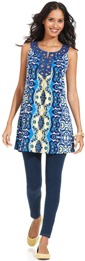 Style&Co. Top, Sleeveless Printed Beaded Tunic