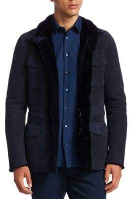 Giorgio Armani Men's Hooded Suede Field Jacket - Blue - Size 52 (42)