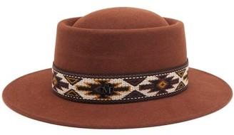 Maison Michel Sonja Geometric-trim Felt Hat - Dark Brown