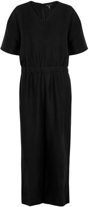 Eileen Fisher Black Cropped Lyocell-blend Jumpsuit