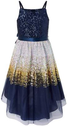 Monsoon Madeline Ombre Prom Dress - Navy