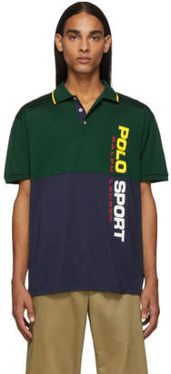 Polo Ralph Lauren Green and Navy Stretch Mesh Polo