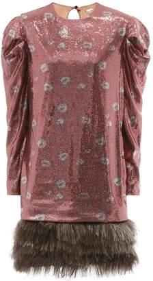 Johanna Ortiz Aurora feather-trimmed silk dress