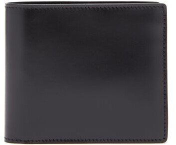 Maison Margiela Logo Stitch Leather Bi Fold Wallet - Mens - Black