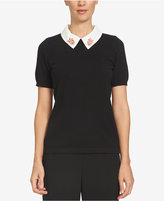 CeCe Embellished Collared Cotton Sweater