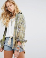 Free People Deconstructed Shirt Jacket With Embellishment