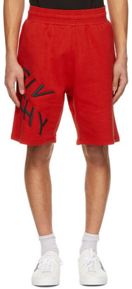 Givenchy Red Embroidered Refracted Logo Shorts