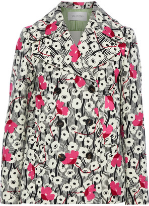 Valentino Double-breasted Floral-print Wool-felt Jacket