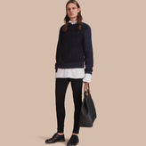 Burberry Cashmere Sweater With Cable Knit Detail, Blue