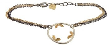 Jamie Joseph Small Asymmetrical Ring Bracelet with Leaf Accents