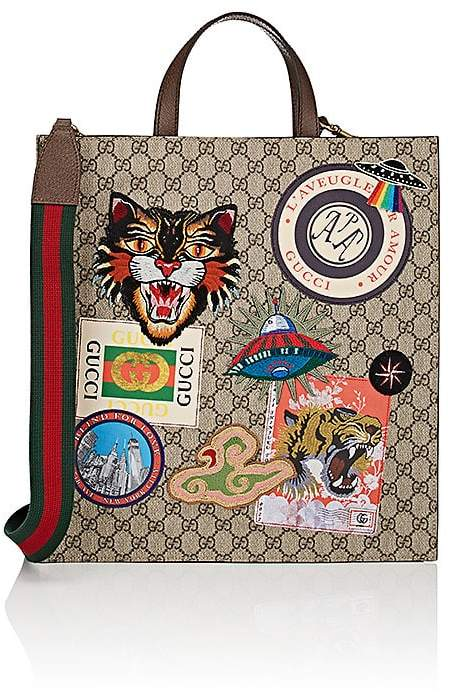 Gucci Men's Appliquéd GG Supreme Shopper Tote Bag
