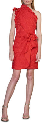 ML Monique Lhuillier One-Shoulder Dress With Ruffle