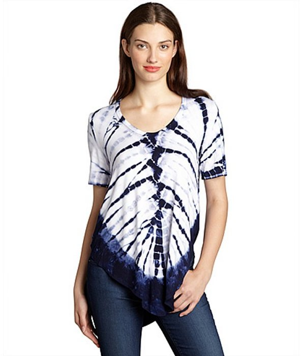 Wyatt navy and white tie dyed jersey border scoop neck top