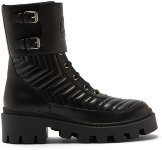 Gucci Chevron-quilted Leather Boots - Black