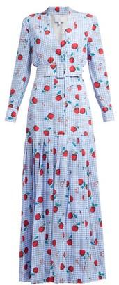 Rebecca De Ravenel Apple-print Gingham Silk Dress - Blue Multi
