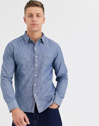 Levi's Sunset pocket chambray indigo denim shirt-Blue
