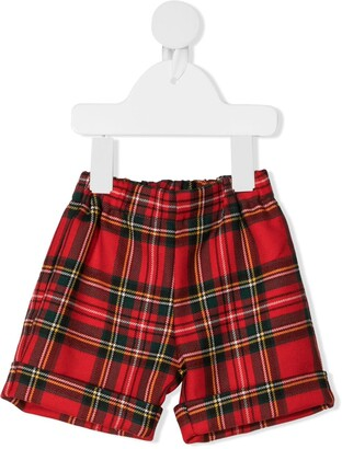 La Stupenderia Tartan-Print Virgin Wool Shorts