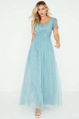 Little Mistress Clarita Blue Lace Mesh Maxi Dress