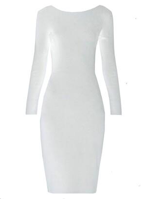 The Row darta scoop-back midi dress white