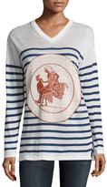 Loewe Striped V-Neck Linen Sweater, White/Blue